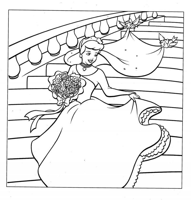 Easy To Draw And Color Cinderella Coloring Print Craft Topology ... | 839x800